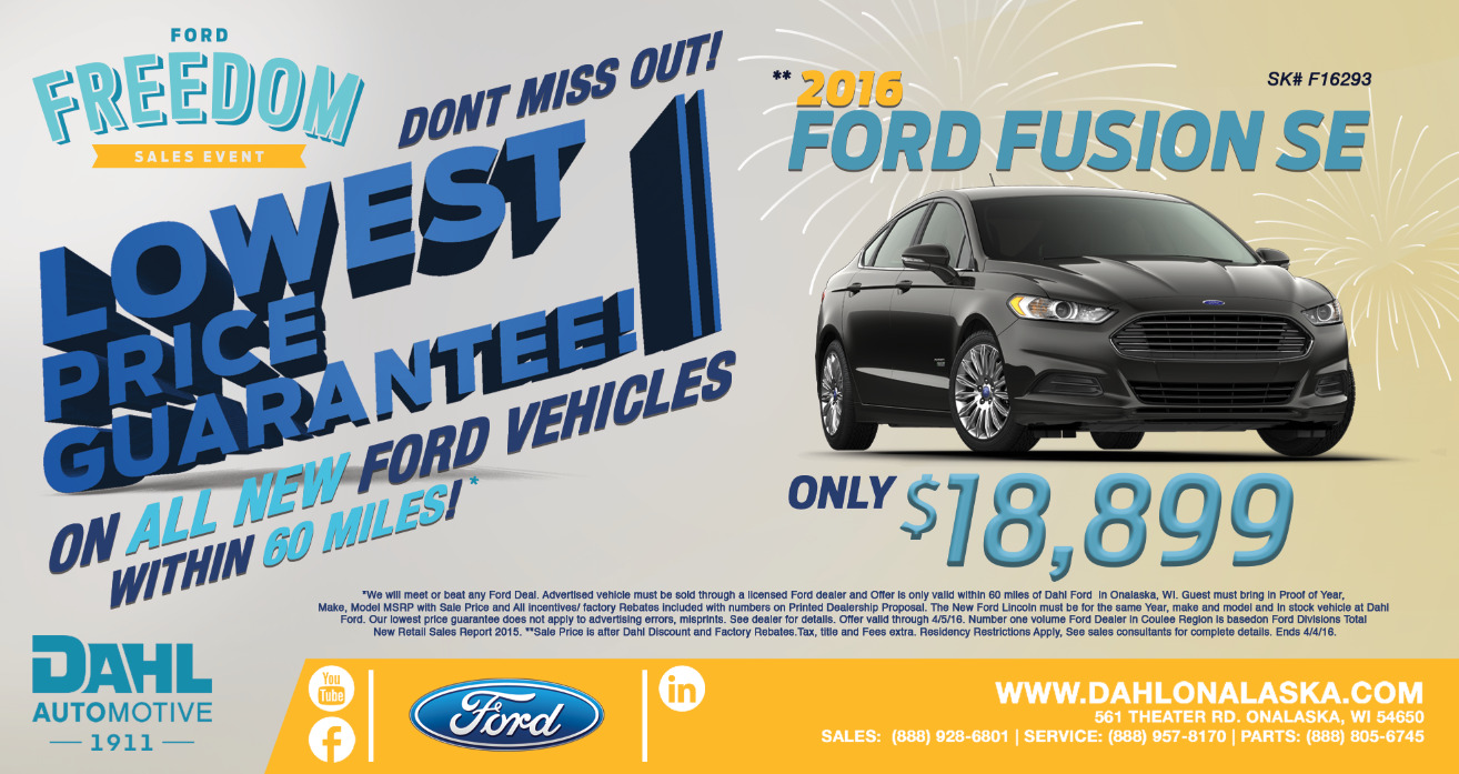 Dahl Ford Freedom Sales Event Ad